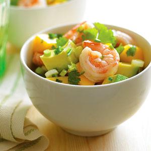 abacate e camarão